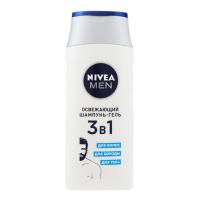 Шампунь-гель для волосся, бороди і тіла Nivea Men для чоловіків Освіжаючий 3в1, 250 мл