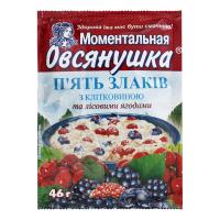 Каша Овсянушка п`ять злаків з лісовими ягодами 46г х20