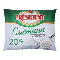 Сметана President 20% пакет 350г х20
