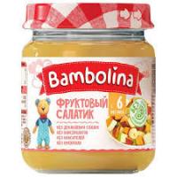 Пюре Bambolina фруктовий салатик банан груша та персик 100г