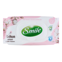 Серветки вологі гігієнічні Smile Cotton Extract, 72 шт.