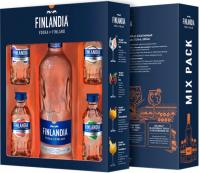 Горілка Finlandia 40% 0,5л + 4шт * 50мл смакові мініатюри