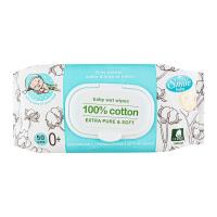 Дитячі серветки вологі гігієнічні Smile Baby 100% Cotton, 50 шт.