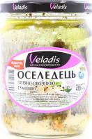 Оселедець Veladis в олії з пряно-овочевою сумішшю 470г
