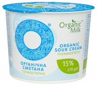 Сметана Organic Milk Органічна термостатна 15% 270г