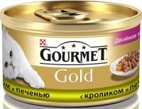 Корм Gourmet Gold для котів Кролик і печінка 85г