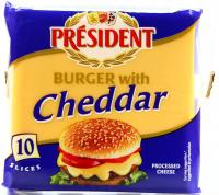 Сир President плавлений Chedar у скибках для бургерів 40% 200г