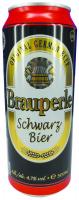 Пиво Brauperle Schwarzbier темне з/б 0,5л