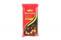 Шоколад Корона чорний з ціл.ліс. горіхом 58% какао 90г х20