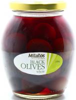 Оливки Milatos чорні з кісточкою 350г с/б