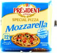 Сир President Mozzarella плавлений 40% у скибках для піци 200г