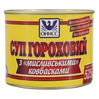 Суп Онісс гороховий з мисливськими ковбасками ж/б 525г х18