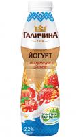 Йогурт Галичина полуниця-злаки 2,2% пет/пляшка 600г