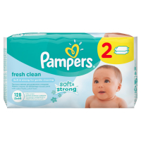 Серветки Pampers Baby Fresh дитячі вологі Алое 2*64шт