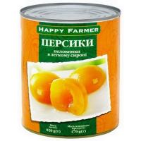 Персики Happy Farmer половинки в сиропі 850мл ж/б
