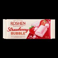 Шоколад Roshen пористий білий зі смак. полуниці 80г х20