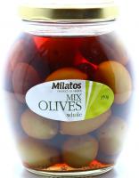 Оливки Milatos асорті з кісточкою 350г с/б