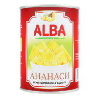 Ананаси Alba шматочки в сиропі ж/б 580мл х24