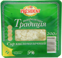 Сир зернистий President Сирна Традиція кисломол. 9% 200г