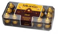Цукерки Milango Gold мол.шок. з фундуком та горіх.крем. 400г