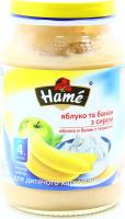 Пюре Hame яблуко та банан з сиром 190г х12