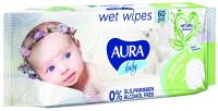 Дитячі серветки вологі гігієнічні Aura Baby Sensitive, 60 шт.
