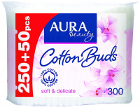 Ватні палички гігієнічні Aura Beauty Soft & Delicate, 300 шт.