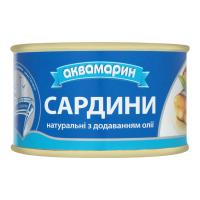 Сардини Аквамарин натуральна з додаванням олії ж/б 230г х36