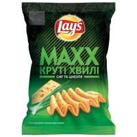 Чіпси Lays Max Круті хвилі сир та цибуля 120г