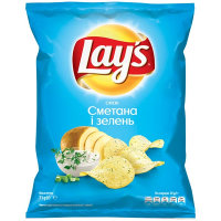 Чіпси Lays Сметана і зелень 71г