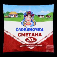 Сметана Слов`яночка 20% плівка 380г х16