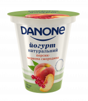 Йогурт Danone натуральний Персик-Червон.смород.2,5% 260г