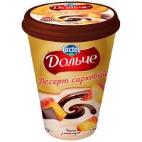 Десерт Lactel Дольче сирковий з наповнювачем Персик та шоколад 3,4% 400г