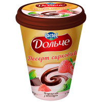 Десерт Lactel Дольче сирковий з наповнювачем Полуниця-ківі та шоколад 3,4% 400г