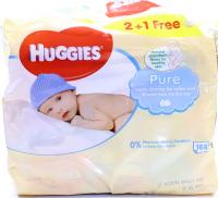 Серветки Huggies Pure дитячі вологі 2+1шт х6