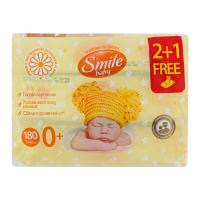 Дитячі серветки вологі гігієнічні Smile Baby Ромашка та Алое 2+1, 180 шт.