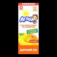 Сік Агуша Мультифруктовий з мякоттю б/цукру 200мл х18