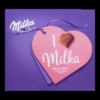 Цукерки Milka молочний шоколад з кремово-полуничною начинкою 110г