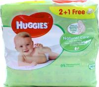 Серветки Huggies Natural Care дитячі вологі 2+1шт х6