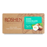 Шоколад Roshen чорний з подрібн. лісовим горіхом 56% 90г х22