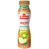 Йогурт Ферма питний Злаки-Яблуко 1,5% 250г