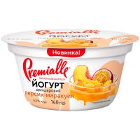 Йогурт Premialle двошаровий з наповнювачем Персик-маракуйя 6,5% 140г