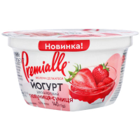 Йогурт Premialle двошаровий з наповнювачем Полуниця-суниця 6,5% 140г