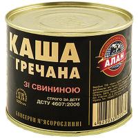 Каша Алан гречана зі свининою 525г ж/б