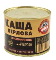 Каша Алан перлова зі свининою 525г ж/б