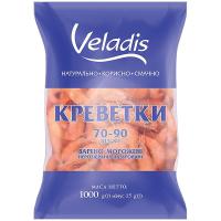 Креветки Veladis нерозібрані варено-морожені глазуровані 70-90 1000г