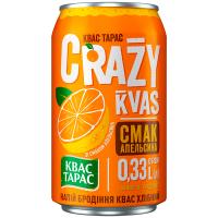 Квас Тарас Crazy Kvas смак апельсина 0,33л ж/б