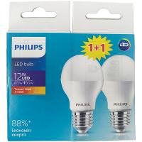 Лампа Philips світлодіодна LED bulb 12W 3000К Е27 2шт