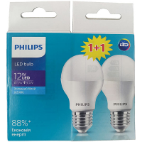 Лампа Philips світлодіодна LED bulb 12W 6500К Е27 2шт