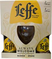 Пиво Leffe Blonde світле фільтроване 6.4% + Brune темне 6.5% / 2*0.75л + келих 0,33л (набір) х2